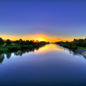 Sunset over Manawatu River by Nadly Aizat Nudri - Landscapes Waterscapes ( water, hdr, sunset, palmerston north, manawatu, new zealand, river )