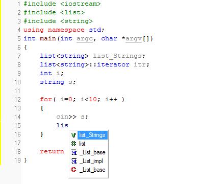 C-free hỗ trợ nhập hàm thông qua từ khóa