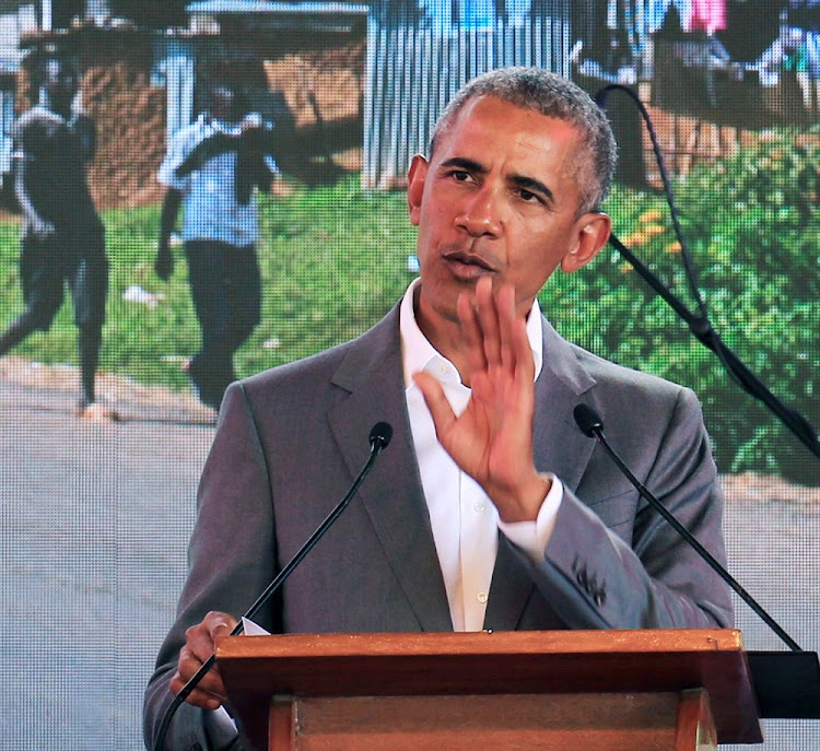 Former US president Barack Obama addresses delegates during the launch of Sauti Kuu resource centre in Nyangoma Kogelo village in Kenya, July 16 2018. Picture: REUTERS