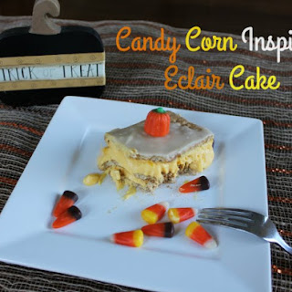 Candy Corn Inspired Eclair Cake