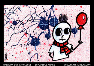 Photo: Balloon Boy 03.07.2011. (sold) 6 in x 4 in. India ink and acrylic paint on 140 lb. watercolor paper. Signed on the front; title and signature on the back. Sold to a collector in Ohio. ©Marisol McKee