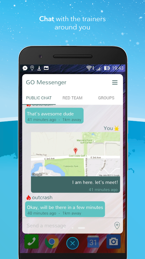 Messenger for Pokemon GO: captura de pantalla