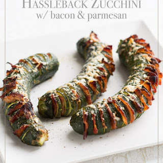 Roasted Hasselback Zucchini stuffed with Bacon.