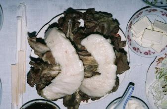Photo: 03508 シリンホト郊外/観光ゲル/食事/羊の脂肪尾