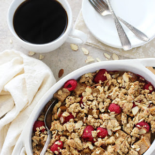 Overnight Raspberry Almond Baked French Toast.