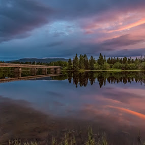 by Grete Øiamo - Landscapes Sunsets & Sunrises ( water, waterscape, sunset, bridge )
