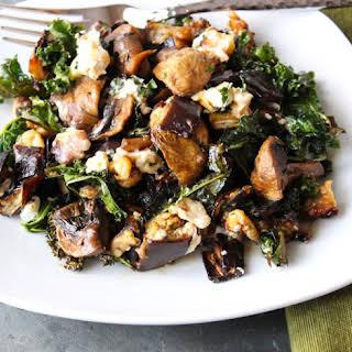 Warm Eggplant, Mushroom and Kale Salad.