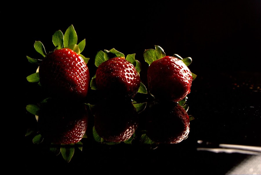Strawberries  by Faiza Jay - Food & Drink Fruits & Vegetables ( studio, fruit, reflection, low key, vegetable, black )