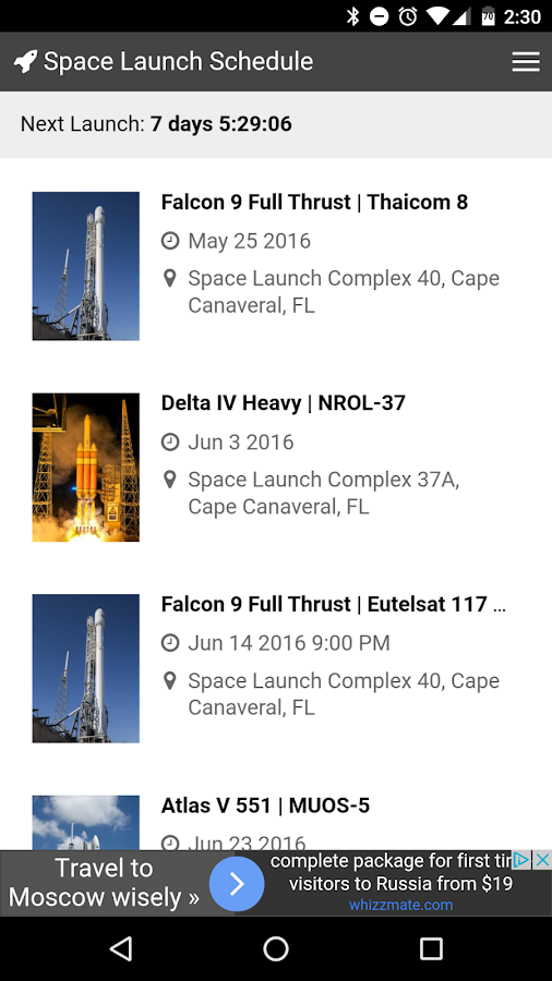 Space Launch Schedule Android Apps Google Play Screenshot 2016