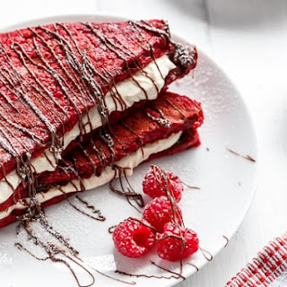 Red Velvet French Toast with Vanilla Bean Cheesecake Filling.