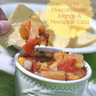 Chunky Mexican Peach Mango and Pineapple Salsa.