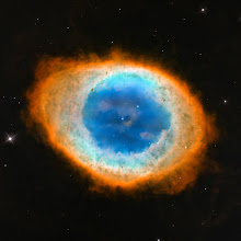 "Photo: This new image shows the dramatic shape and colour of the Ring Nebula, otherwise known as Messier 57. From Earth's perspective, the nebula looks like a simple elliptical shape with a shaggy boundary. However, new observations combining existing ground-based data with new NASA/ESA Hubble Space Telescope data show that the nebula is shaped like a distorted doughnut. This doughnut has a rugby-ball-shaped region of lower-density material slotted into in its central ""gap"", stretching towards and away from us."