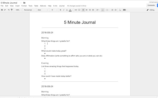 5 minute journal - Google Docs add-on
