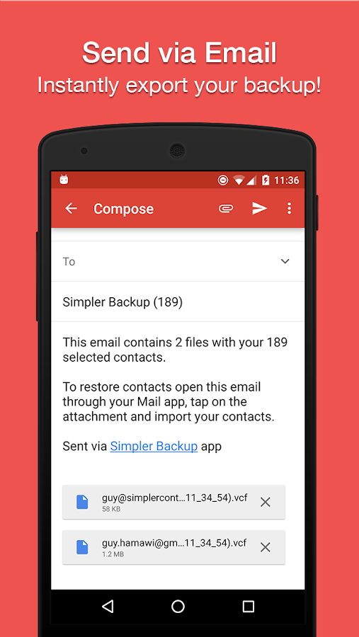 Simpler Contacts Backup- screenshot