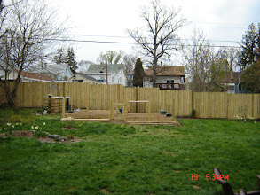 Photo: Nearly completed garden with Raised flower bed on the front right.