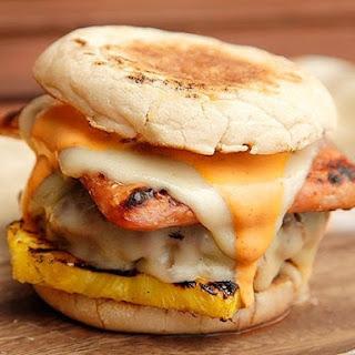 Hot Hawaiian Burgers (Spam, Pineapple, Swiss, and Sriracha Mayo).