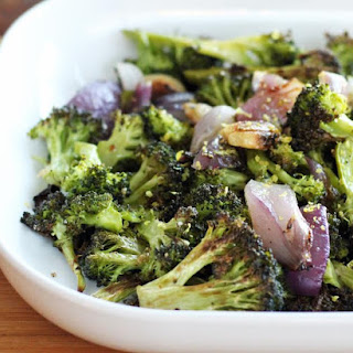 Roasted Broccoli with Onions and Garlic.