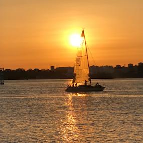 Drifting away by ADW Photography - Transportation Boats ( #sunset #yacht #plymouth #mountbatten #orange #water )
