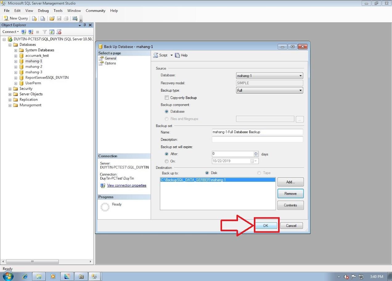 Hướng Dẫn Backup Và Restore Databases Gerber Accumark Trong SQL Server 9