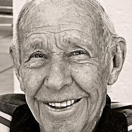 Happy Grandpa by Pieter J de Villiers - Black & White Portraits & People