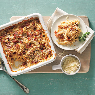 Cheesy Chicken and Bacon No-Boil Pasta Bake.