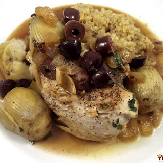 Braised Chicken Breasts with Artichokes and Olives.