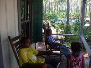 Photo: kids on the front of the Lowe House