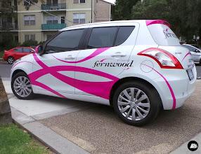Photo: Suzuki Swift Vehicle Decals, Hot Pink, Swirls, Fernwood Fitness