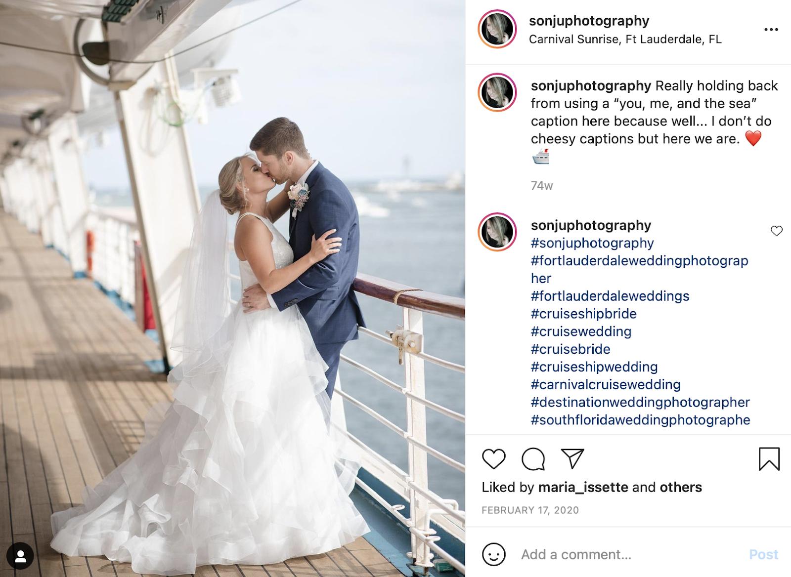 cruise wedding photo