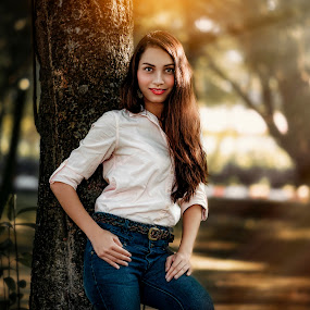 Pose by MSR Photography - People Portraits of Women ( girl, tree, park, colorful, woman, outdoors, sunrise, portraits, nikon, people, photography, eyes )