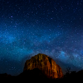 The rock in the stars by Timothy Horng - Landscapes Starscapes ( mountains, stars, way, sedona, milky )