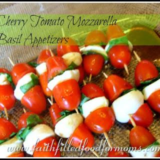 Cherry Tomato Mozzarella Basil Appetizer.