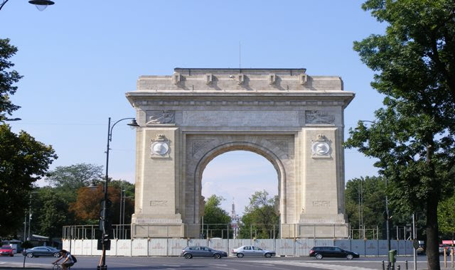 ARCH OF TRIUMPH IN BUCHAREST CLOSE VIEW