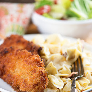 Pork Milanese with Cream Cheese Noodles.