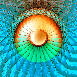 Pearl Flower Mandala Web by Robin Amaral - Illustration Abstract & Patterns ( orange flower, harmony, abstract art, netting, mandala, geometric, intrique, abstract lines, turquoise, repetition, pearl )