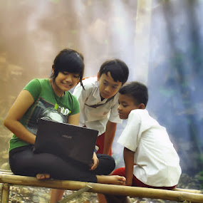 Young teacher , cool pupils by Monica Anantyowati - Babies & Children Children Candids