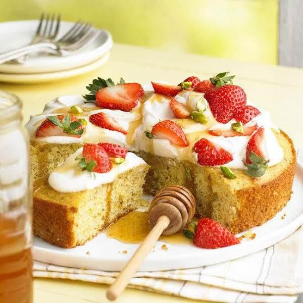 Pistachio-honey Cake With Berries And Cream Recipe