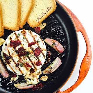 Grilled Baked Brie with Shallots, Cranberries & Balsamic