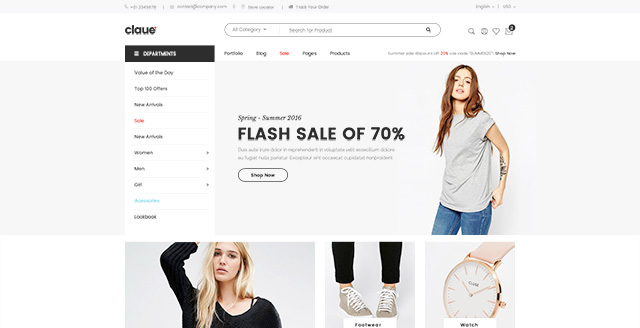 Magento clothing theme Claue