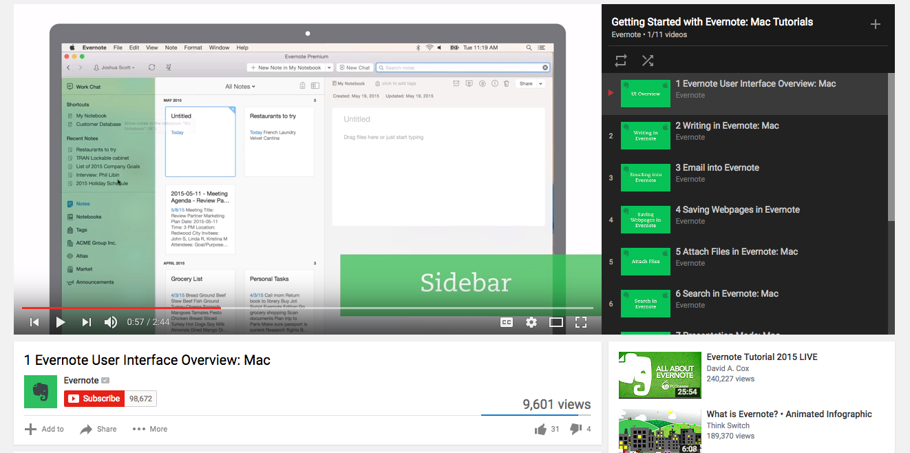 Evernote Video Content