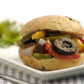 Roasted Vegetable Ciabatta/focaccia With Sliced Pickled Walnuts
