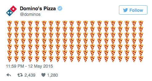 Dominos Pizza, Emojis, Social Media, Webtexto content marketing conteudo marketing digital