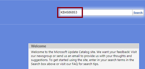 Second Search that update number in the Microsoft update catalog page