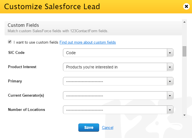 custom fields salesforce for forms
