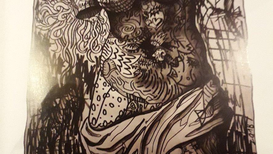 Oeuvre Vénus en noir et blanc de Robert Combas