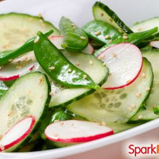Springtime Salad with Snow Peas, Cucumbers, and Radishes.