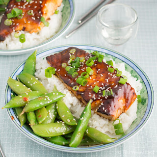 Teriyaki Salmon and Lemon Soy Snap Peas