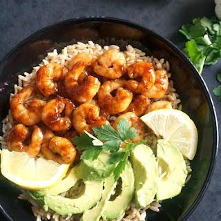 Honey Garlic Prawns with Wholegrain Rice and Avocado Recipe