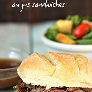 Slow Cooker Au Jus Beef Sandwiches.