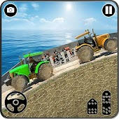 Chained Tractor:Offroad Pull Towing Bus 3D